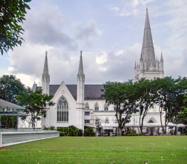 St Andrews Cathedral in Singapore stock photo