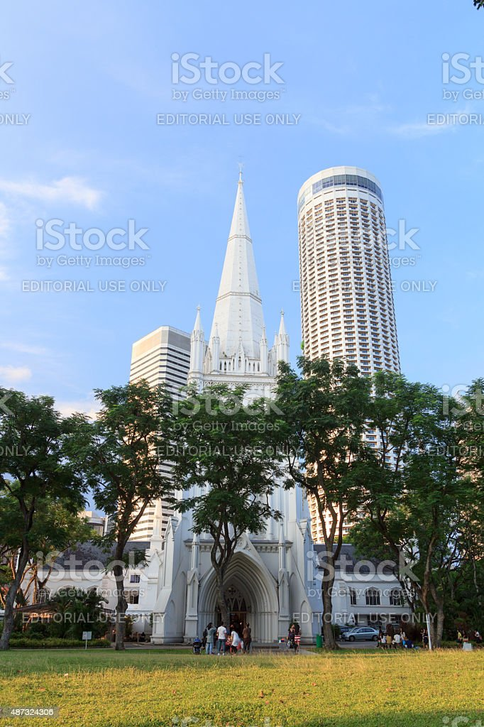 St Andrew's Cathedral steeple and tower, Singapore stock photo