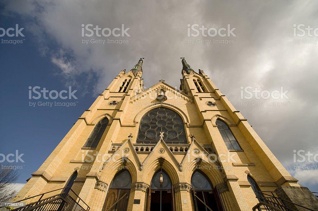 St Andrews Catholic Church, Roanoke, Virginia Wide Angle Looking Up stock photo
