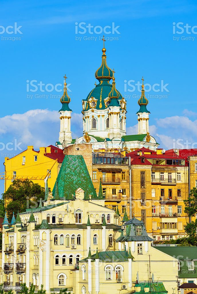 St. Andrew's Church and the old houses in Kiev stock photo