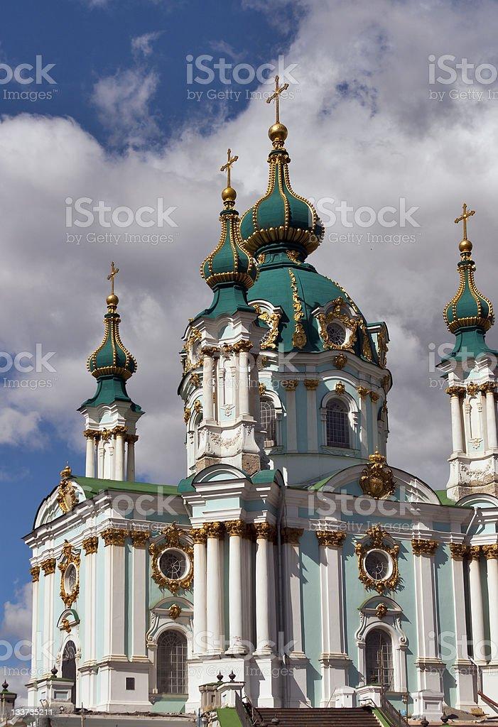 St. Andrew's church in Kyiv, Ukraine stock photo