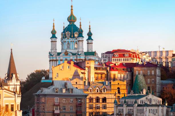 st. andrew's church, ancien centre de kiev, ukraine - ukraine photos et images de collection