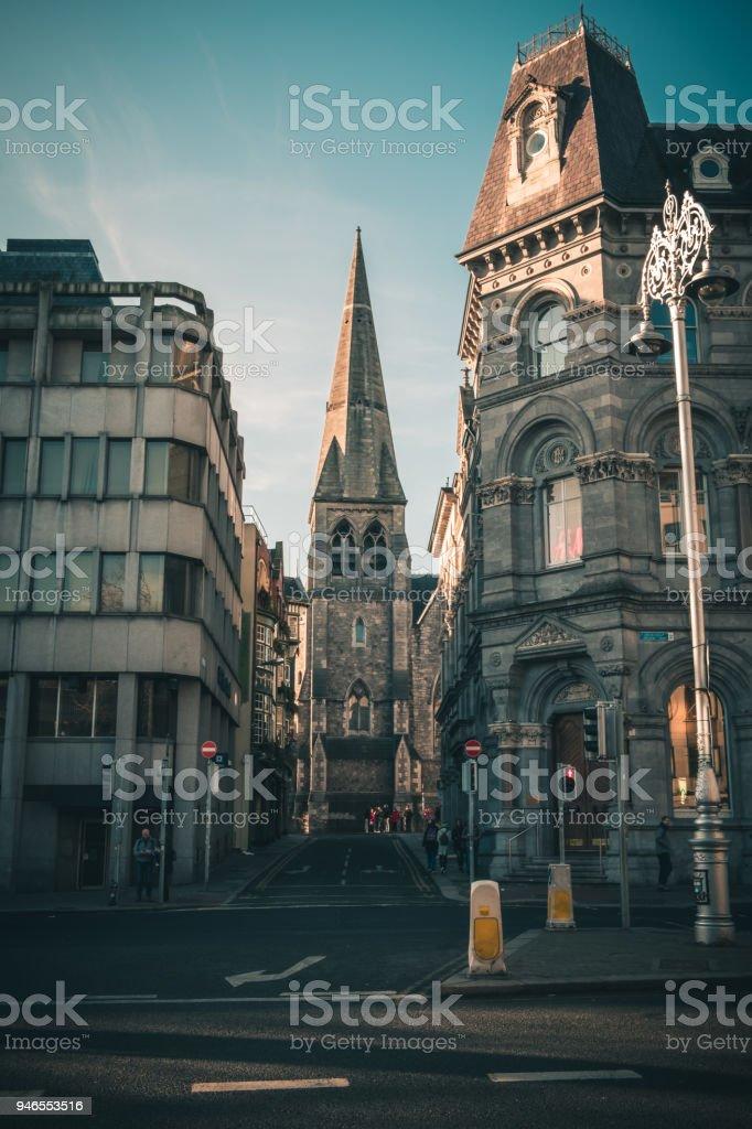 St Andrews Church seen through the narrow street of Dublin stock photo
