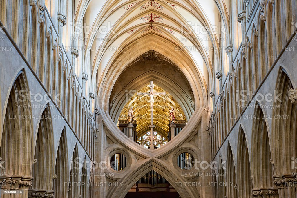 St Andrew's Cross arches in Wells cathedral stock photo