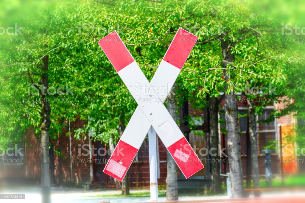 St. Andrew's Cross on a railroad crossing stock photo