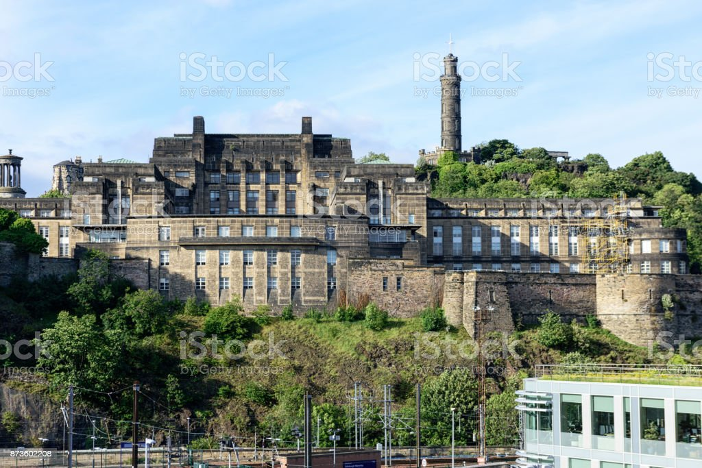 St. Andrew's House, Nelson Monument,  Edinburgh, Scotland stock photo