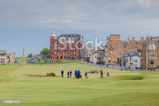 A view of down the 18th hole of the historic Old Course at St. Andrews Links in Fife, Scotland