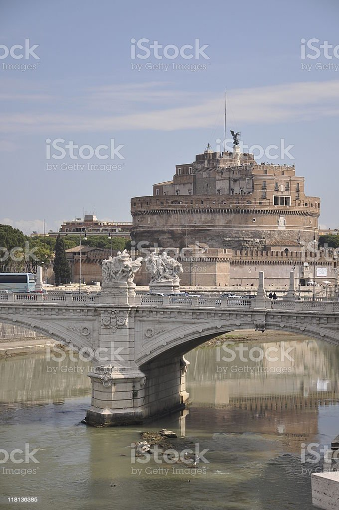 St. Angelo Castle on Tiber River - Rome, Italy royalty-free stock photo