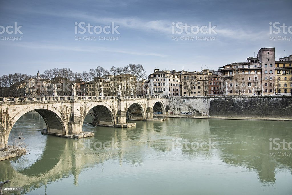 Castel sant'angelo's bridge stock photo