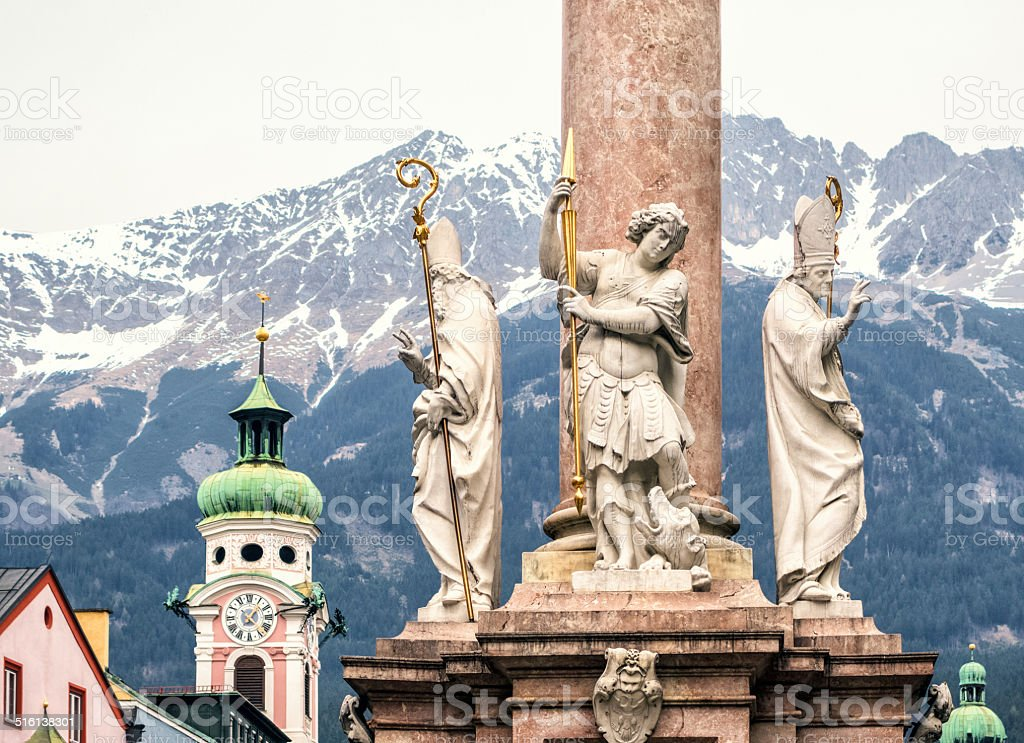 St. Ann's Column on Maria Theresien Strasse, Innsbruck Austria stock photo