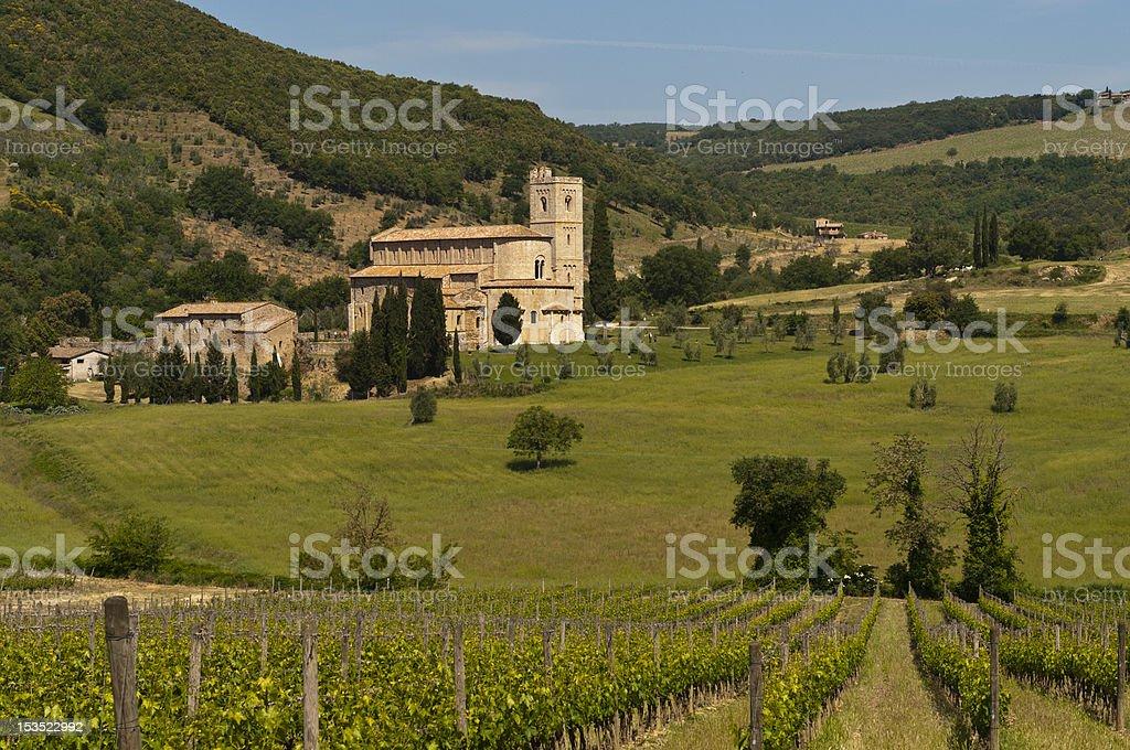 St. Antimo Abbey, Tuscany, Italy royalty-free stock photo