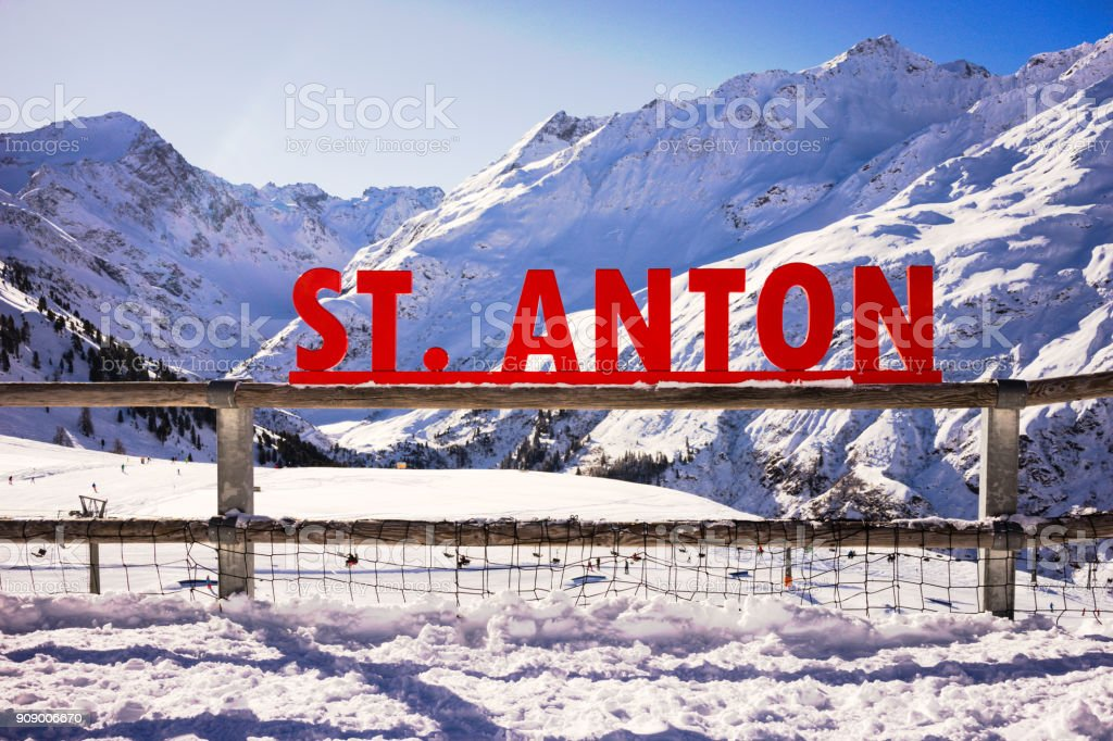 St. Anton sign in the mountains stock photo