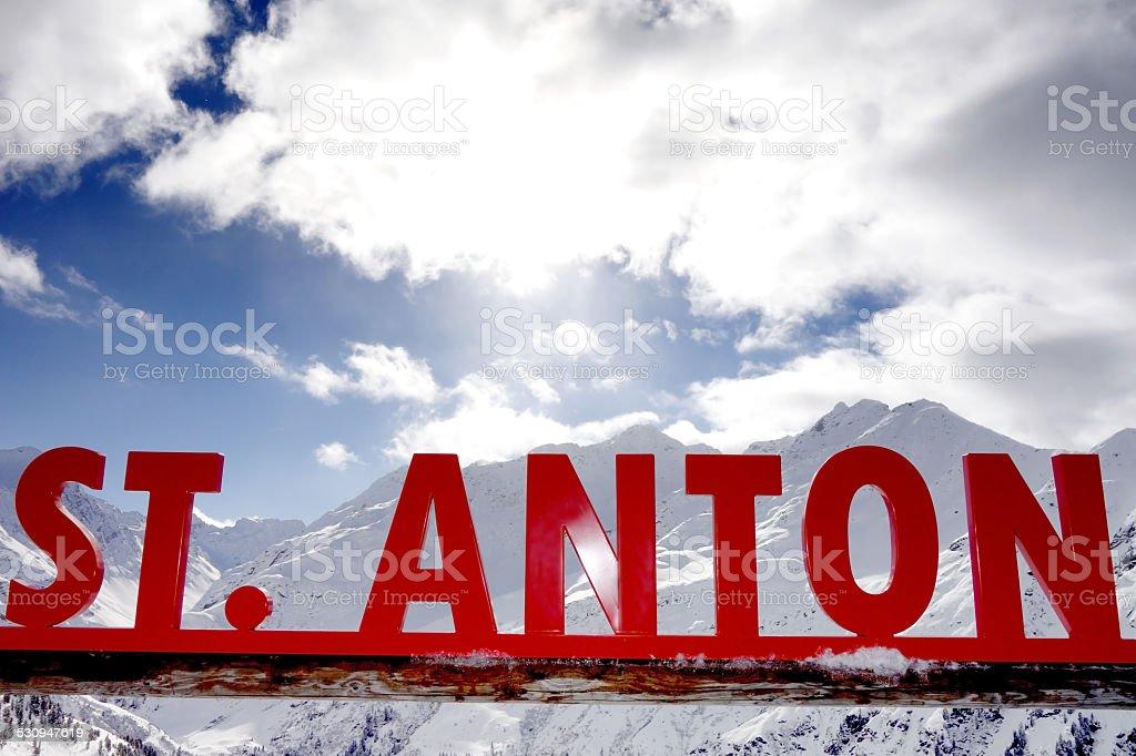 St Anton Sign stock photo