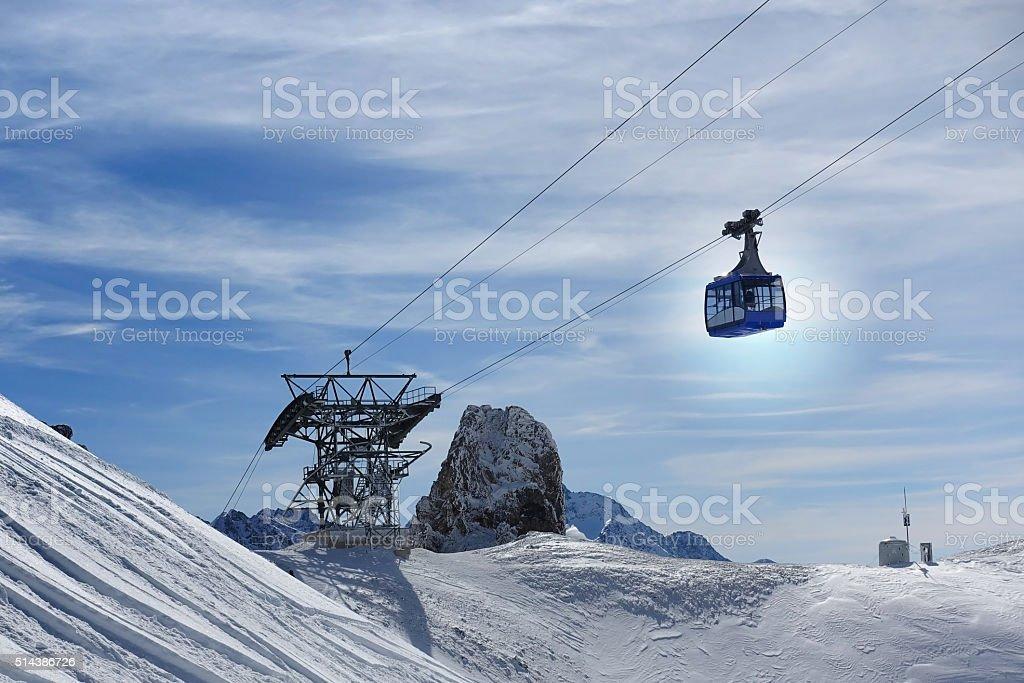 St Anton - Ski lift Vallugabahn- Skiing stock photo