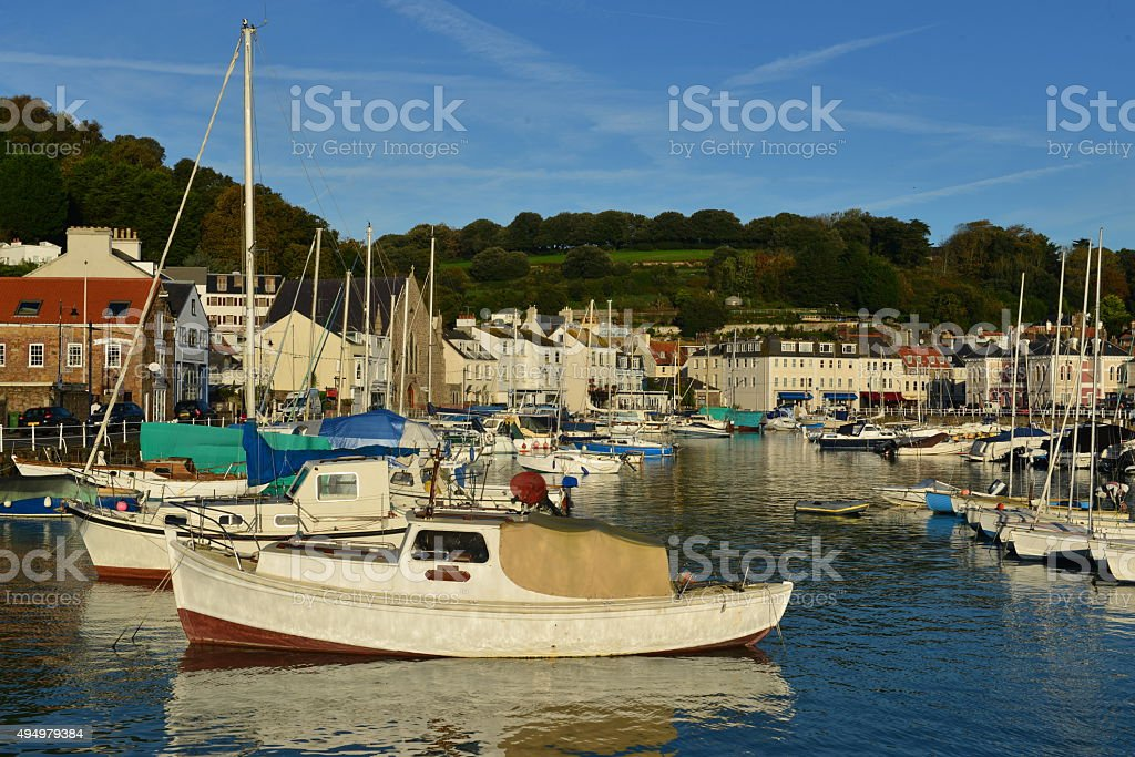 St Aubin's harbour, Jersey,U.K. stock photo