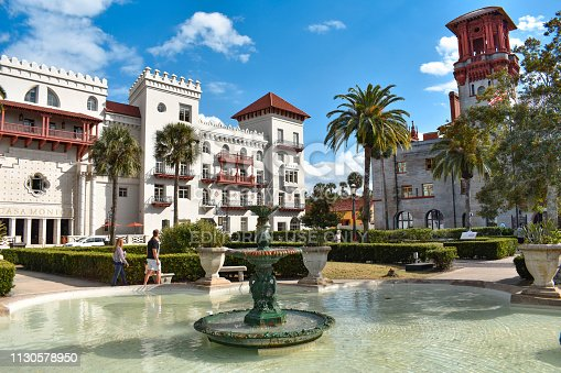 St. Augustine, Florida. January 26 , 2019. Beautiful fountain , Casa Monica Spa & Hotel and Lighter Museum in Florida's Historic Coast.