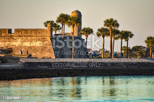 St. Augustine, Florida. January 26 , 2019 .Beautiful view of Castillo de San Marcos Fort, sea and palm trees at Old Town in Florida's Historic Coast .