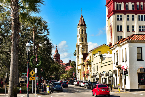 St. Augustine, Florida. January 26 , 2019. Cathedral Basilica of St. Augustine , Plaza de la Constitucion and partial view of Henry Flager College at Old Town in Florida's Historic Coast.