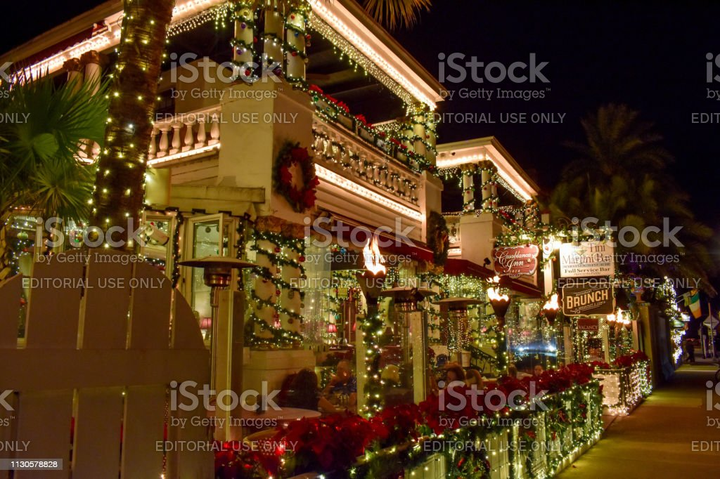 Christmas Town Florida.St Augustine Florida January 26 2019 Illuminated Restaurant
