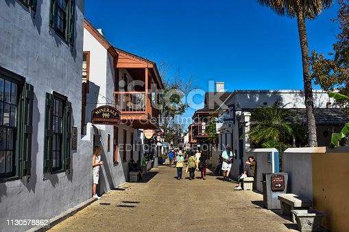 St. Augustine, Florida. January 26 , 2019 . People enjoying colonial experience in St. George St. in Old Town at Florida's Historic Coast  (7)
