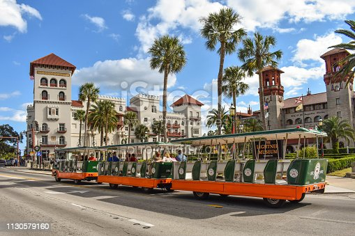St. Augustine, Florida. January 26 , 2019. Trolley Tour, Casa Monica Hotel and Lightner Museum on lightblue cloudy sky background  at Old Town in Florida's Historic Coast (3)