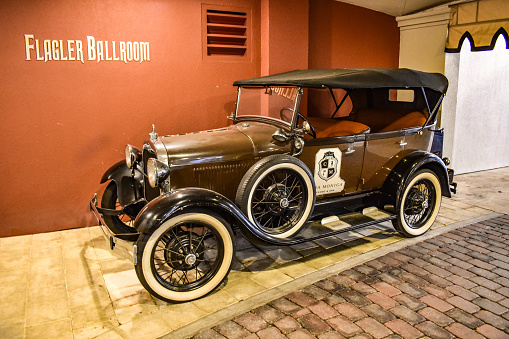St. Augustine, Florida. January 26 , 2019. Vintage Car in Casa Monica Spa & Hotel in Florida's Historic Coast.