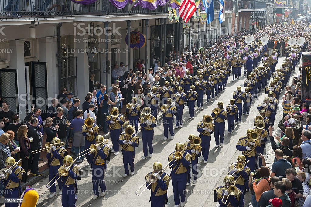 Marching Band at Mardi Gras stock photo