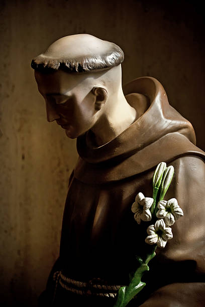 st augustine monk monk wooden painted figure in Cathedral Basilica of St. Augustine st. anthony of padua stock pictures, royalty-free photos & images
