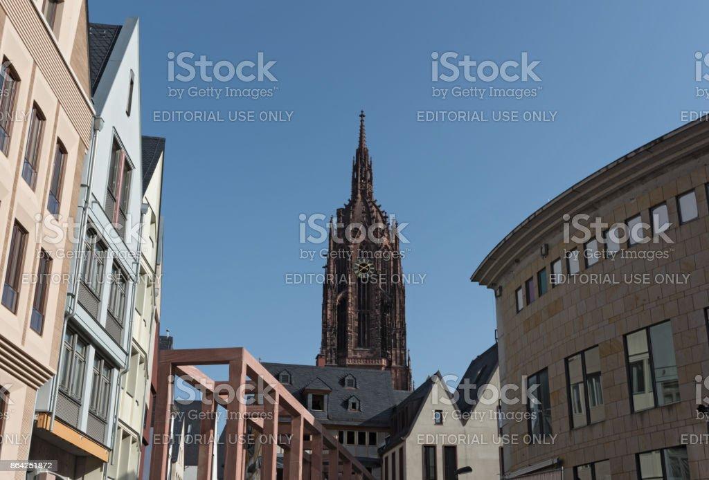 St Bartholomaus Frankfurter Dom Cathedral with new Roemerberg development in Frankfurt, Germany royalty-free stock photo