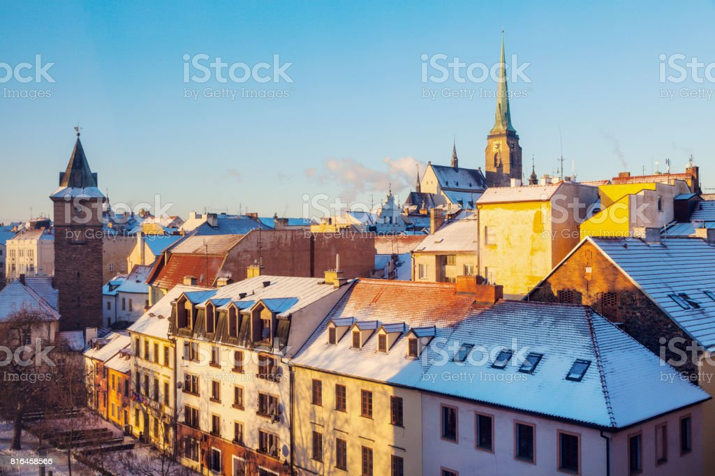 St. Bartholomew Cathedral and Old Water Tower in Pilsen stock photo