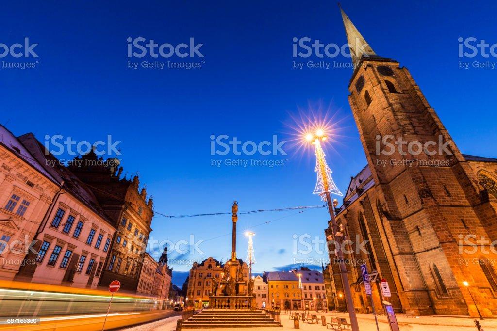 St. Bartholomew Cathedral in Pilsen stock photo