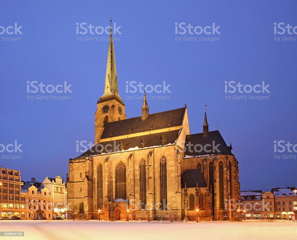 St. Bartholomew's Cathedral in Plzen. Czech Republic stock photo