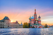 istock St. Basil's Cathedral and golden first rays of the sun 1062947134
