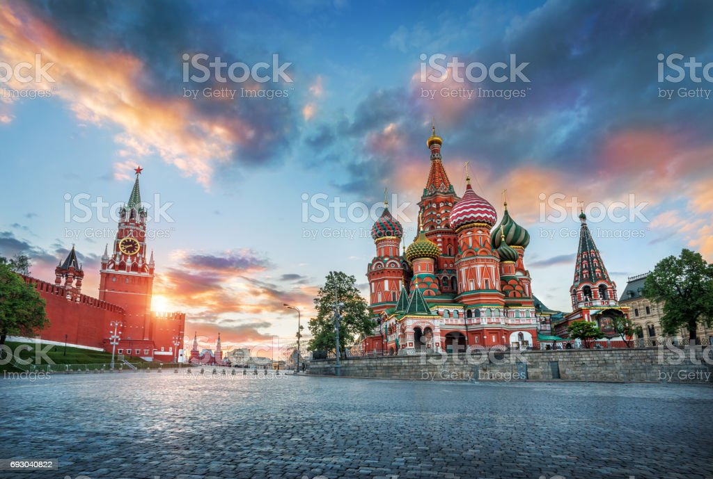 St. Basil's Cathedral and the Spasskaya Tower stock photo
