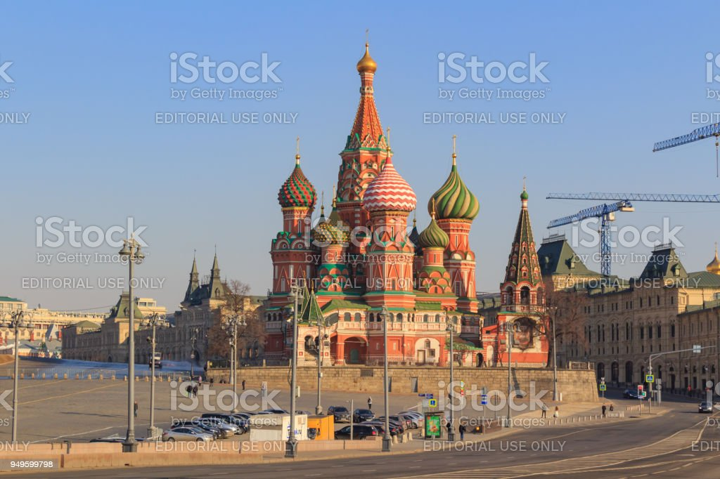 St. Basil's Cathedral in Moscow on a sunny spring morning. View from the Bol'shoy Moskvoretskiy bridge stock photo