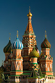 Evening view of St Basils, the famous and iconic cathedral on Red Square in Moscow