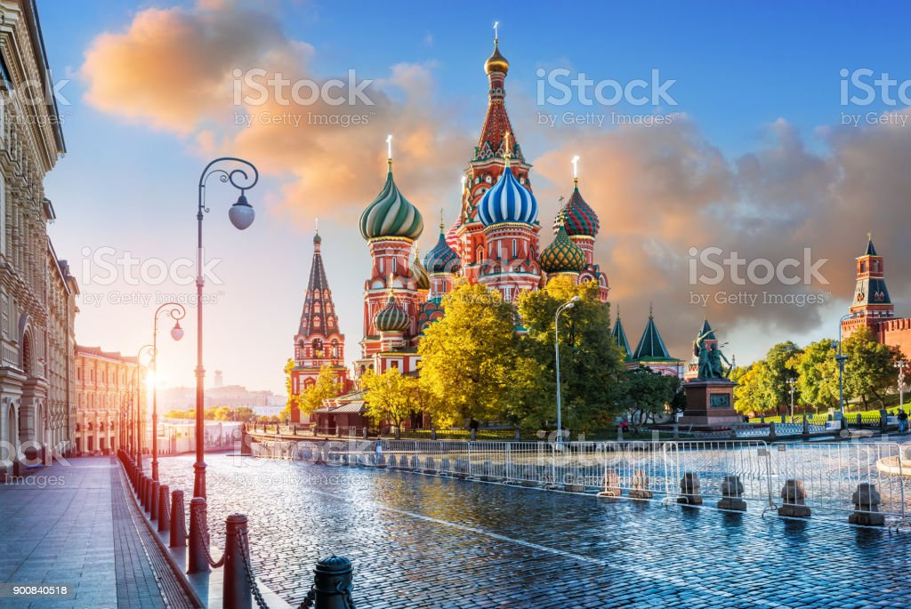 St. Basil's Cathedral  in the light of morning sunlight stock photo