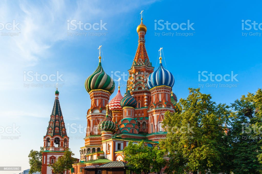 St. Basil's Cathedral in the morning, Moscow, Russia stock photo