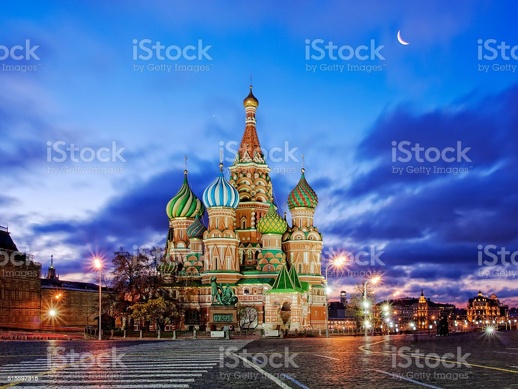 St. Basil's Cathedral in the morning stock photo