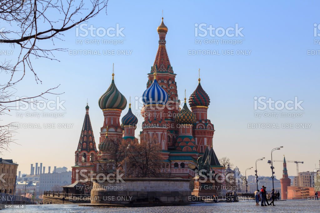 St. Basil's Cathedral on Red square against the blue sky on a sunny morning. Moscow in spring stock photo