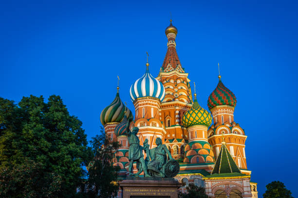 St Basil's cathedral on Red Square at night, Moscow, Russia stock photo