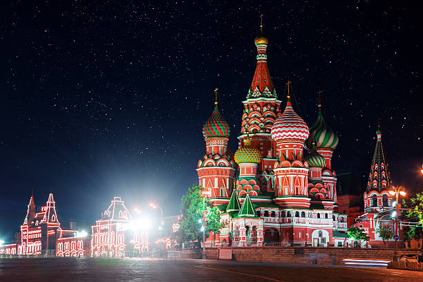 St. Basil's Cathedral, Red square at night. Moscow, Russia stock photo
