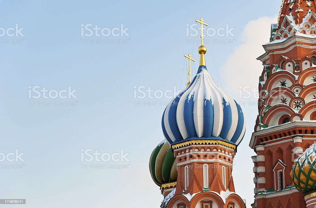 St. Basil's Snowy Domes royalty-free stock photo