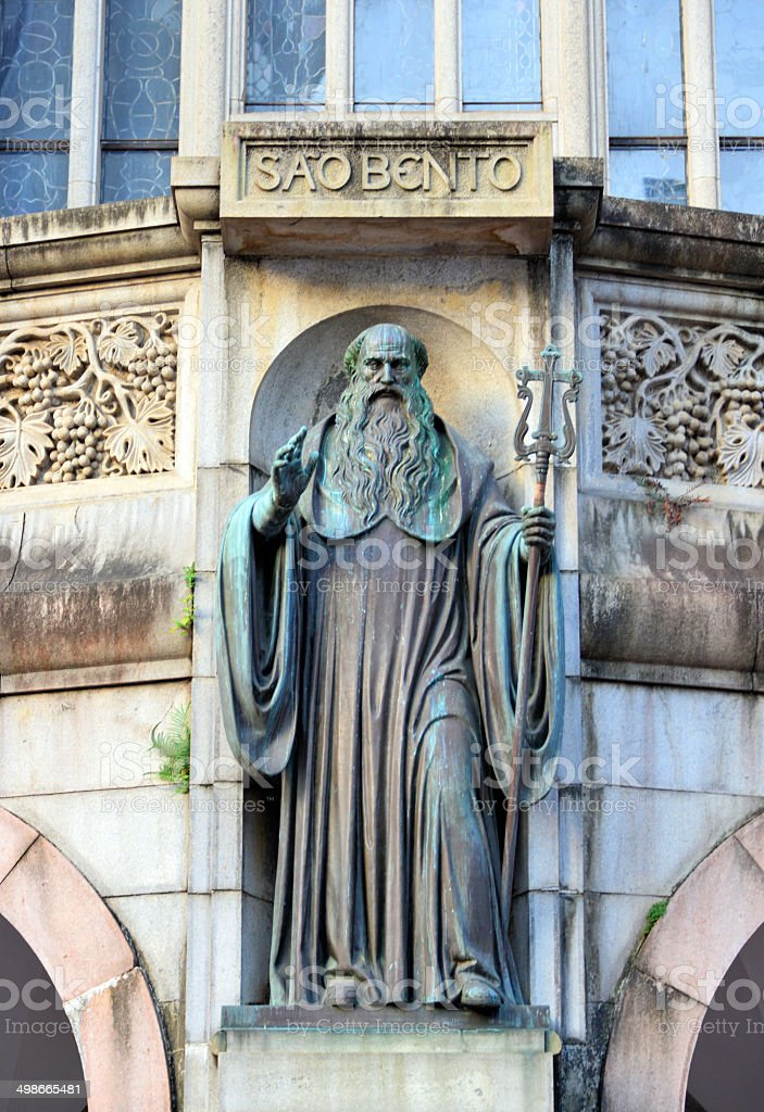 St. Benedict on a church facade royalty-free stock photo