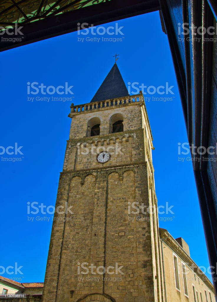 St Benoit's tower, Castres taken from the cathedral door opposite stock photo