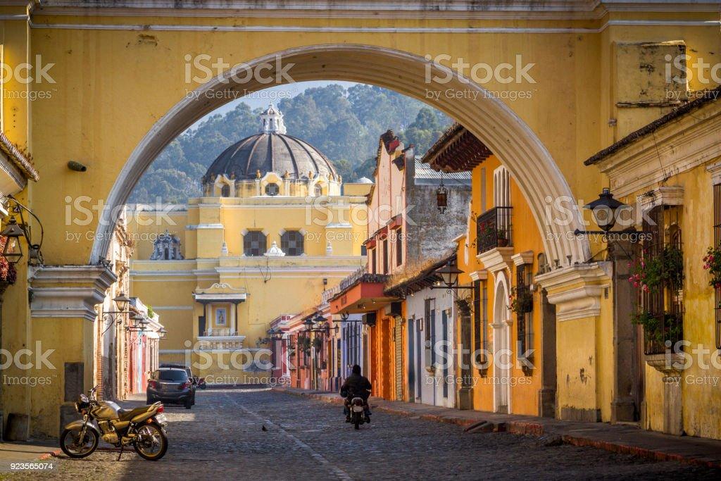 St Catarina arc in Antigua Guatemala. stock photo
