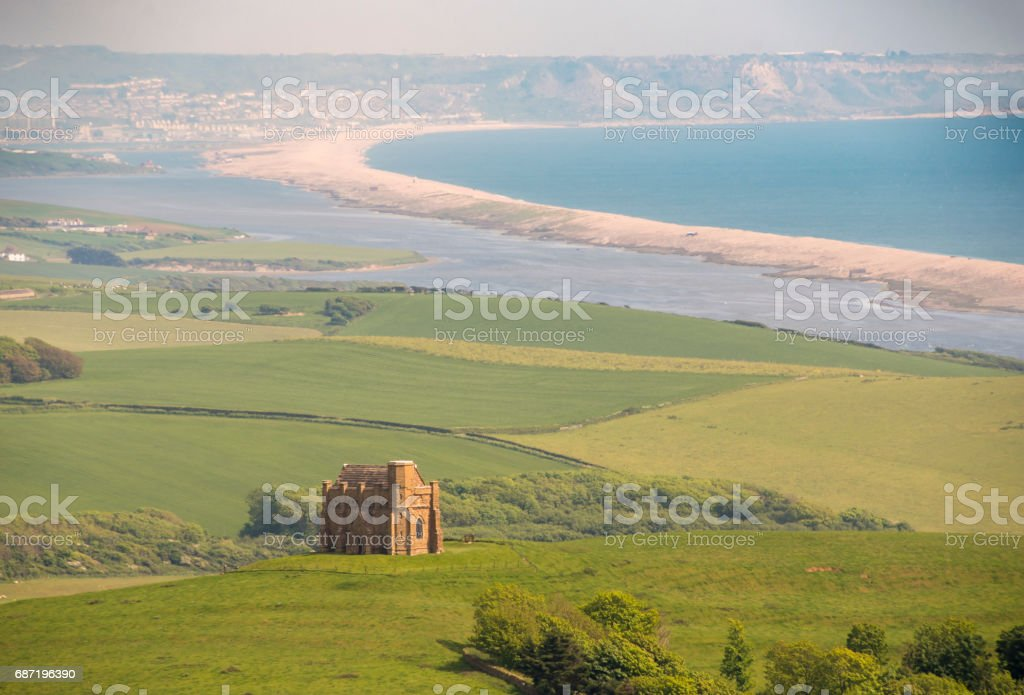 St Catherine's Chapel and Chesil Beach in Dorset stock photo