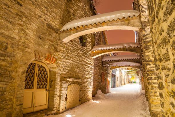 St. Catherine's Passage - a small historic street in Tallinn, Estonia stock photo