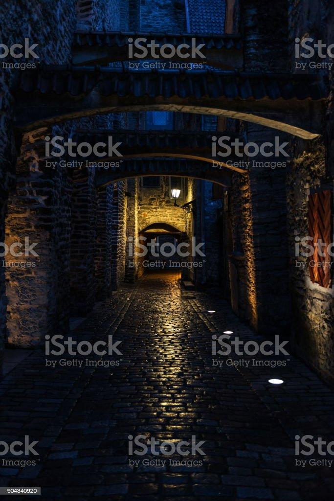 St. Catherine's Passage at night in Tallinn stock photo