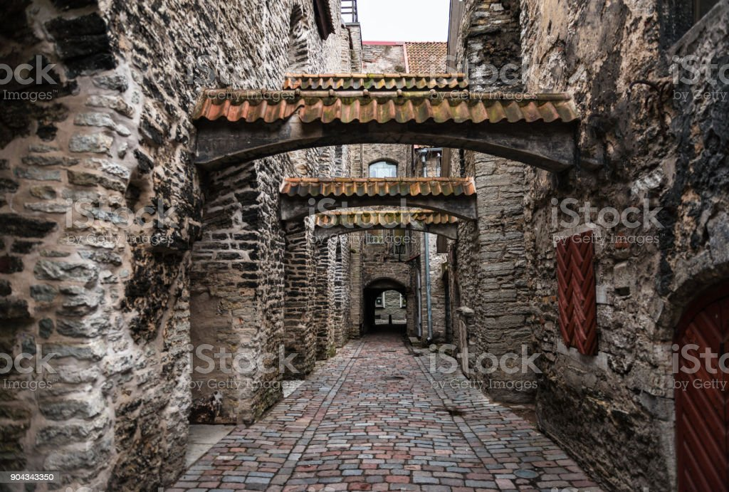 St. Catherine's Passage in Winter in Tallinn stock photo